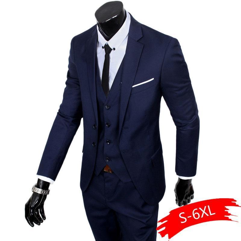 Formal Trajes Pantalones Chaquetas (+ Vest +) Nuevos 2020 trajes de etiqueta boda Boutique de la manera del color puro novio los hombres delgados de negocios Blazer