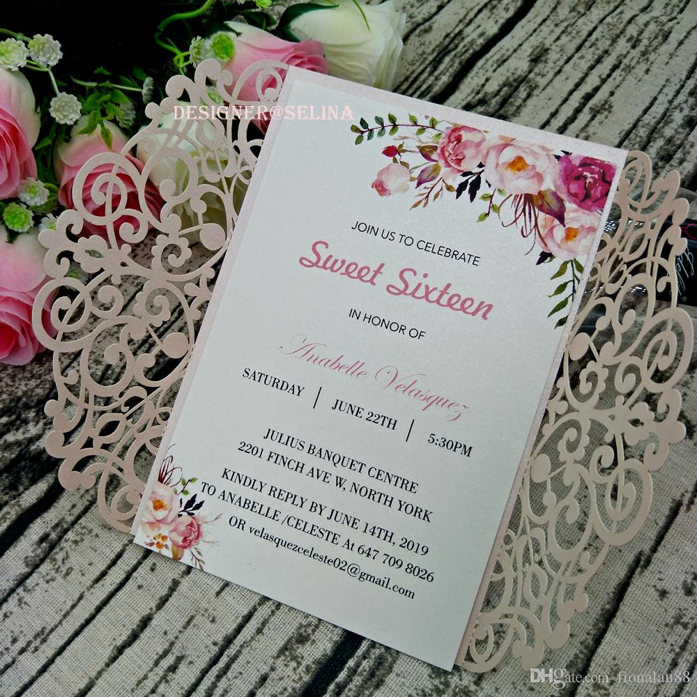 Compre Elegante Rubor Rosa Del Corte Del Laser Invitaciones Para La Boda Nupcial De La Ducha 15 Fiesta De Cumpleaños De Quinceanera Dulce Aniversario