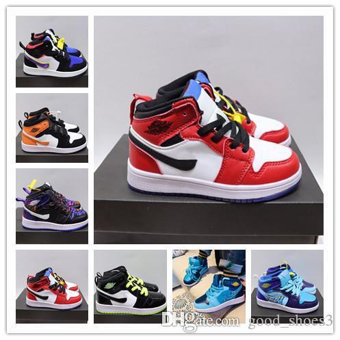 2020 1 1s Kids Basketball Shoes PreSchool Signed Mid Youth Chicago New Born Baby Infant Toddler Trainers Small Boys Girls Sneaker Boys Sports Trainers