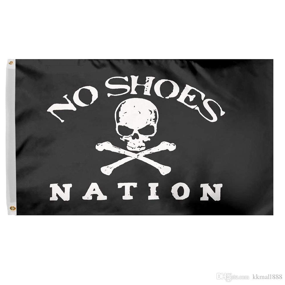 3x5 Ft keine Schuhe Nation Flagge Banner - Piraten-Schädel ohne Cowboyhut Fan Club Polyester-Flagge mit Messingösen