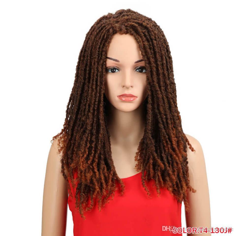 22 Inch Synthetic Wigs For Black Women Crochet Braids Twist Jumbo Dread Faux Locs Hairstyle Long Afro Brown Hair