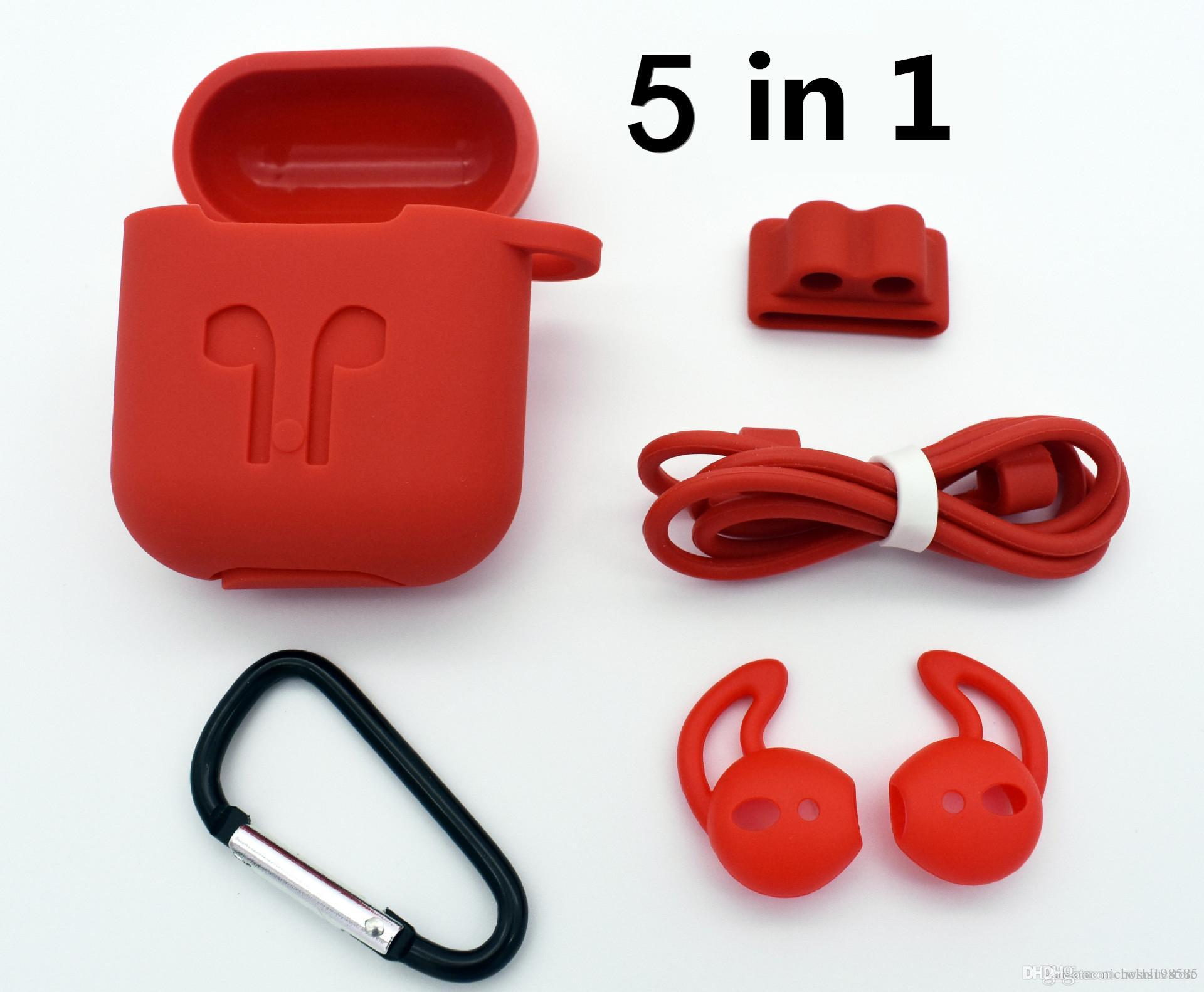 Wireless Headset TPE Case Cover Skin anti-lost strap for Apple iphone airpods
