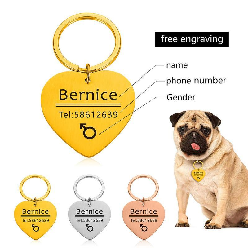 Custom Dog Tag Collar Accessories Dog ID Tags Stainless Steel Pet ID Tags for Cats and Dogs Engraved Cat Tel Sex Name