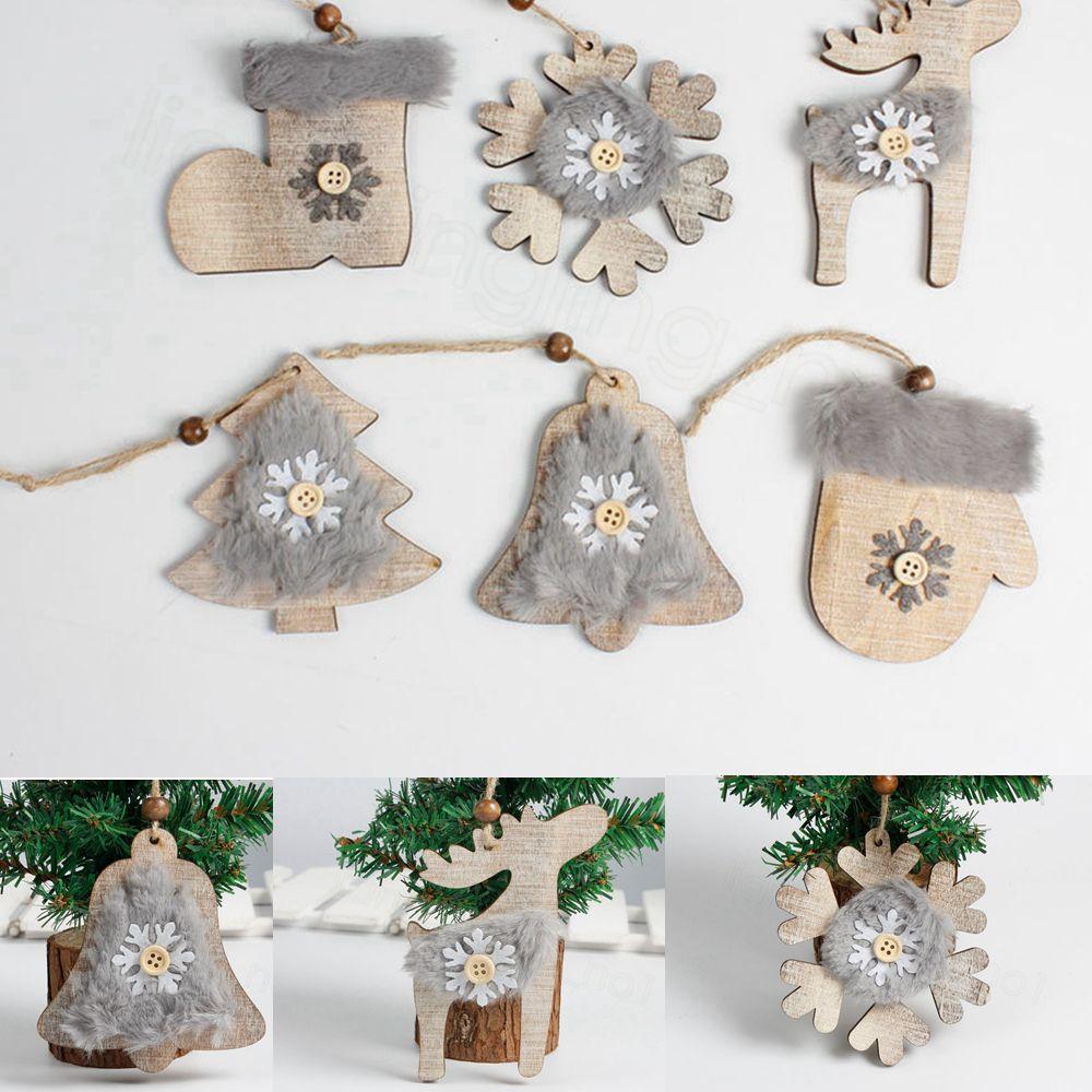 شعرت خشبية عيد الميلاد الزينة شجرة عيد الميلاد قلادة الفلاح شجرة عيد الميلاد الديكور مع الجوارب حبل الشنق قلادة عيد الميلاد ديكور الدعائم FFA3397