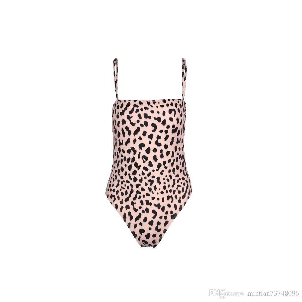 2019 Europe and the United States swimwear four-color sling leopard print sexy one-piece swimsuit bikini new