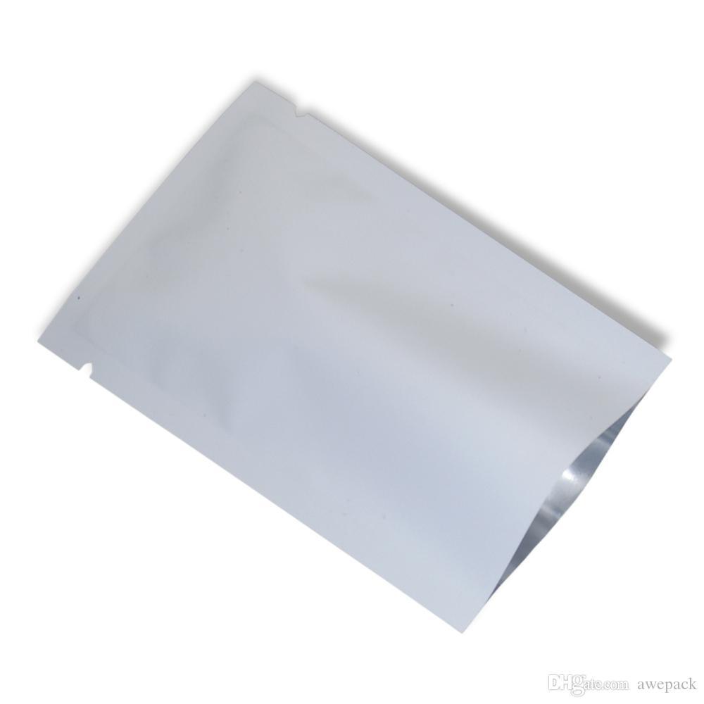 200pcs / lot Bianco opaco Mylar Foglio sottovuoto Sacchetto di imballaggio aperto superiore Guarnizione di calore Sacchetti di alluminio Foil Candy Snack Pack Sacchetto di immagazzinaggio del campione