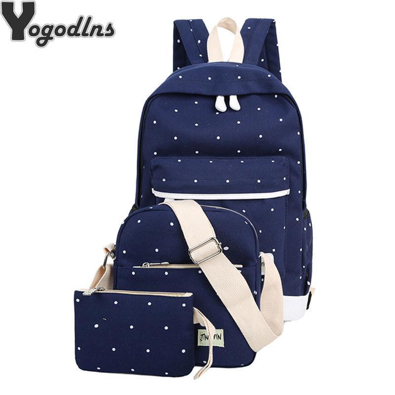 3pcs/set Korean Casual Women Backpack Canvas Book Shoulder Bag Preppy Style School Knapsack For Teenage Girls Composite Rucksack Y19051405