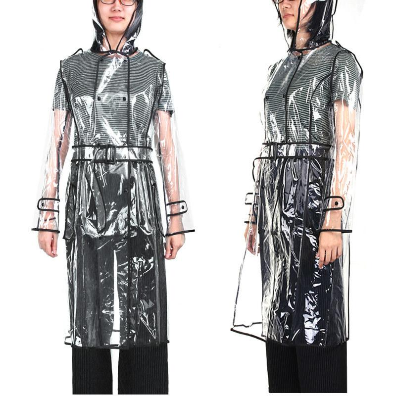 Eva Transparent Long Raincoat For Women Waterproof Jacket Windbreaker Rain Poncho With Belt Outdoors Capa De Lluvia Q190603