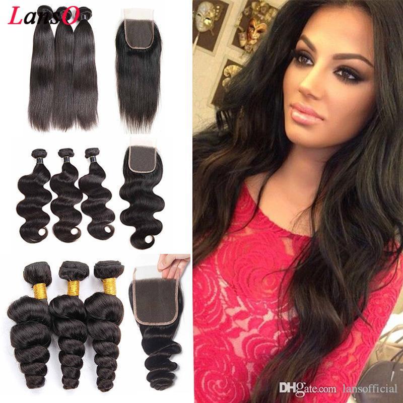 Pas cher Vierge humaine Bundles cheveux brésiliens avec fermeture du corps Bundles waves avec dentelle fermeture Remy Hair Extensions droite