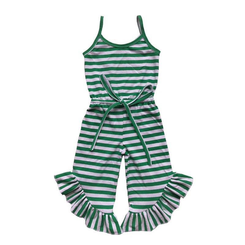 Date bébé filles combinaison été vert rouge noir bande à volants pantalon filles barboteuse enfant en bas âge une pièce tenue 1-6 t MX190720