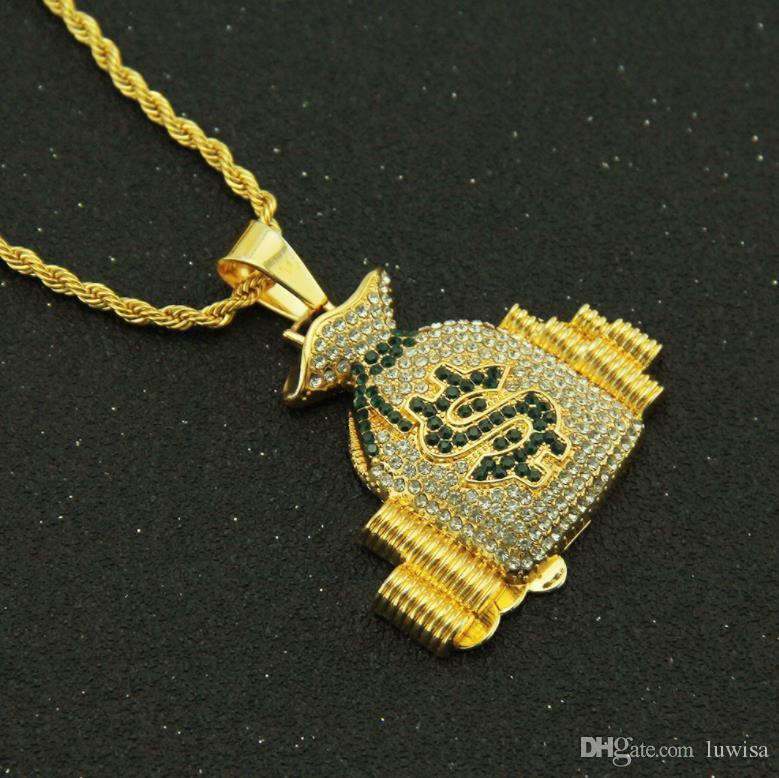 금에 의하여 도금되는 달러 표시 목걸이 갱스터 포주 힙합 유행 펀 던트 사슬