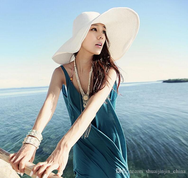 Sun Straw Beach Hat Cap Женская большая флоппи-складная широкая кепка от солнца Sunhat Beach Panama Hat GGA1755