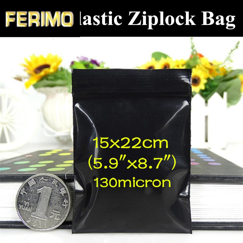 "100pcs 15x22cm (5.9 ""x8.7"") Soft Negro Zip USB Embalaje bolsa a prueba de luz concentradores / Cables / Tarjetas anti oscurecimiento Negro regalo de almacenamiento de bolsillo"