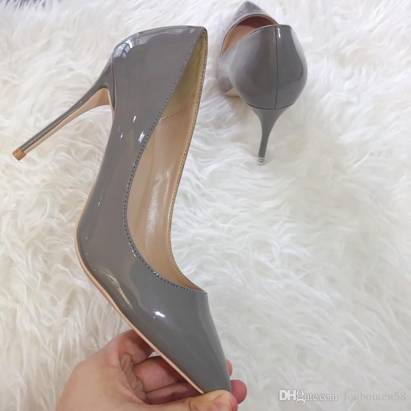 Emballage d'origine gris bout pointu dame escarpins en cuir PU femme peu profonde talons hauts escarpins sexy slip-on fête de mariage femmes bas chaussures rouges