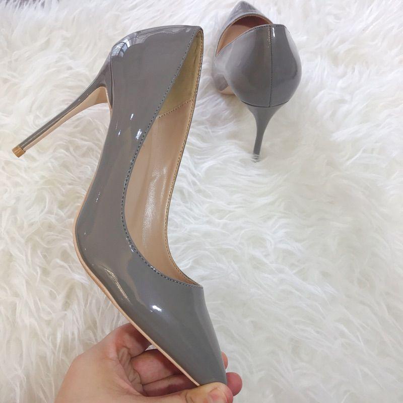 Оригинальная упаковка Серые заостренные носки туфли на высоком каблуке из искусственной кожи на высоком каблуке туфли на высоком каблуке на высоком каблуке с сексуальным надеванием на свадьбу для женщин с красной подошвой