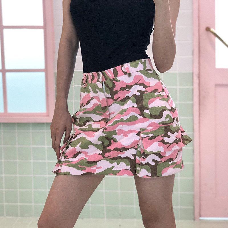 Neue süße Mädchen Camo mit hohen Taille A-Linie Minirock Frauen Taschen dünner Röcke Short Mini-Paket Hüfte Rock Preppy-Stil Röcke