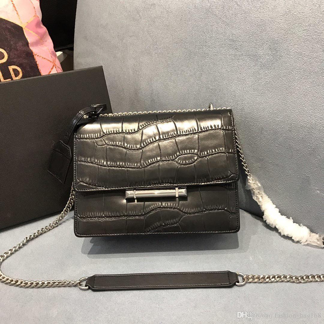Nova moda de luxo Designer Mulher Handbag Cruz sacos de ombro do couro genuíno de alta qualidade sacola de couro Cadeia Crocodile print Matching