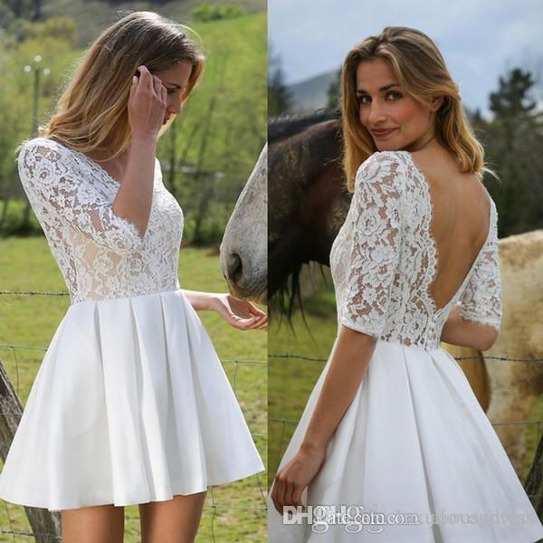 겸손한 높은 저지대 스타일 웨딩 드레스 V 넥 레이스 봄 여름 비대칭 장착 하이 로우 비치 신부 가운 저렴한