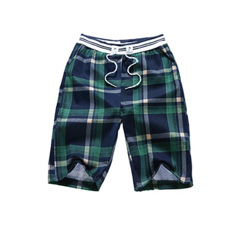 Pantaloncini da uomo estate casual cotone e lino cinque pantaloni Slim Beach plaid stampa pant 2021
