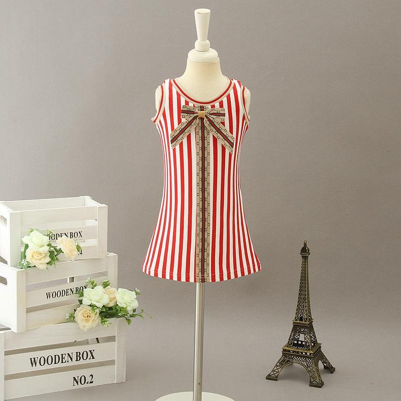 Letter Bowtie Kids Girls Dresses Sleeveless Baby Girl Vest Dress 2020 Infant Princess Dress for Party Children Boutique Clothing S746