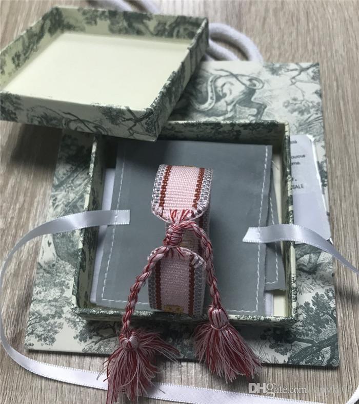 Продажа 2020 ф D бренд хлопок тканых браслеты Lovers Браслет Вышивка кисточка для женщин Rope Braceletbangle дружбы с бокс-сетом