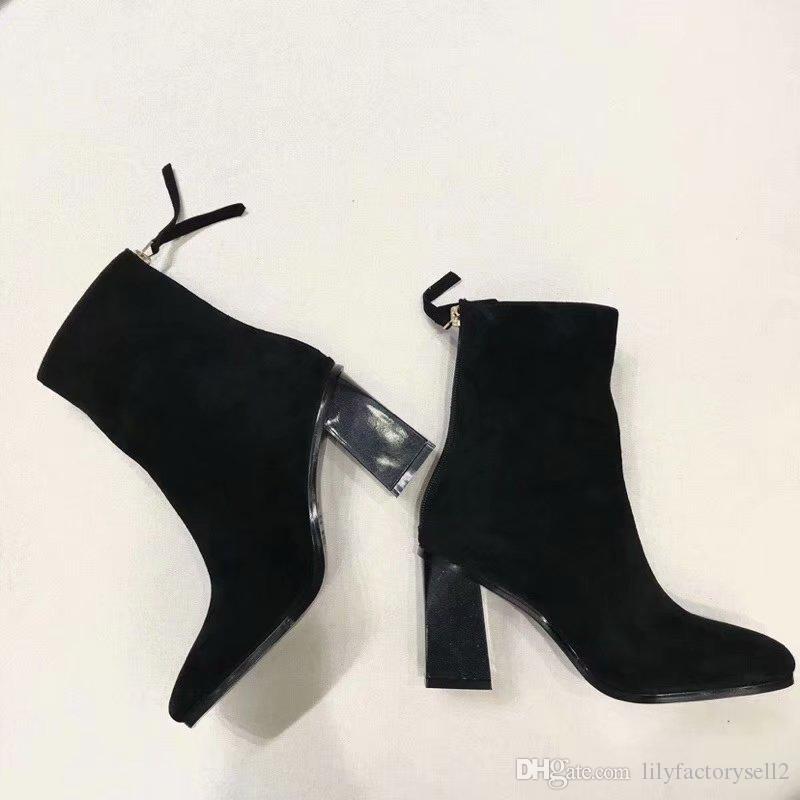 mejor mayorista 080f3 944e0 Compre Botines Occidentales Mujer 2019 Botines Para Mujer Negro Tacón Alto  Botas Cortas Calcetines Femme Otoño Invierno Zapatos Mujer 2019 A $182.92  ...