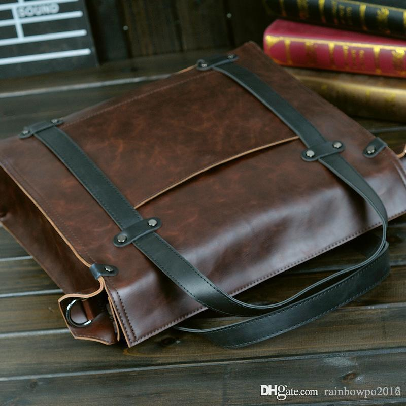 Factory Brand new factory direct male package Korean mens business casual retro color briefcase Metrosexual Crazy Horse Leather Laptop Bag