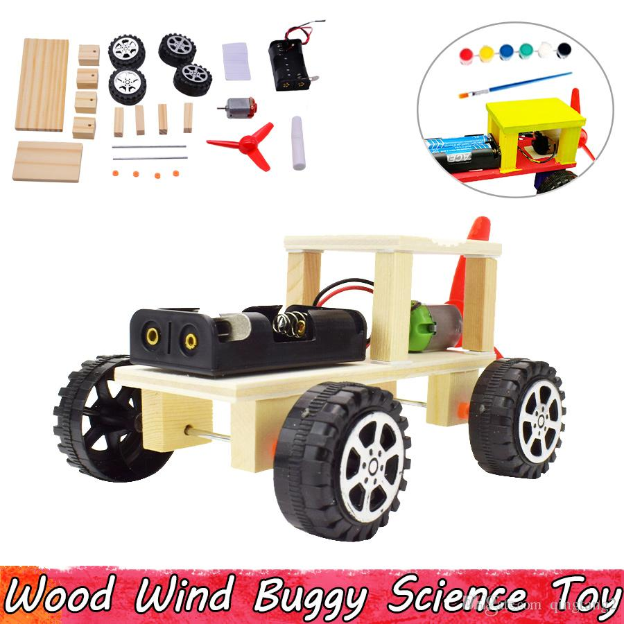 Wood Wind Buggy Experiment Science Toys DIY Assembling Educational Toys for Children Improve Brain Ability Gifts