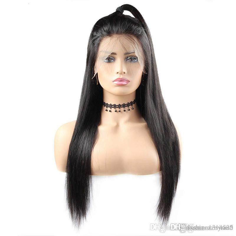 Brésil droite avant de dentelle perruque Pré plumé 360 Dentelle Frontal perruques de cheveux humains avec bébé cheveux haute densité Remy Perruques
