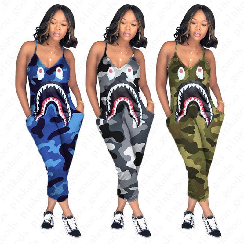 Frauen Designer Camouflouge Strapse Jumpsuit Shark Mouth drucken einteilige Hosen arbeiten reizvollen V-Ausschnitt Body-Hose D52705