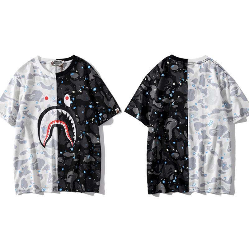 2020 مصمم رجالي تي شيرت النساءيه فاخر بلايز أزياء الصيف العلامة التجارية قصيرة الأكمام قميص أنماط شارع القرش رأس الطباعة تيز 2032700V
