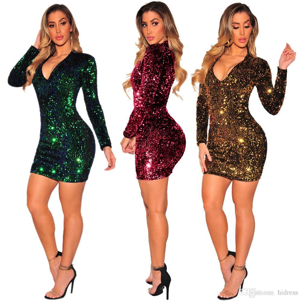 2019 colorido Glitz lentejuelas sexy vestidos de baile de manga larga vestido de fiesta una línea de vestidos de fiesta vestidos de manga de noche en la acción