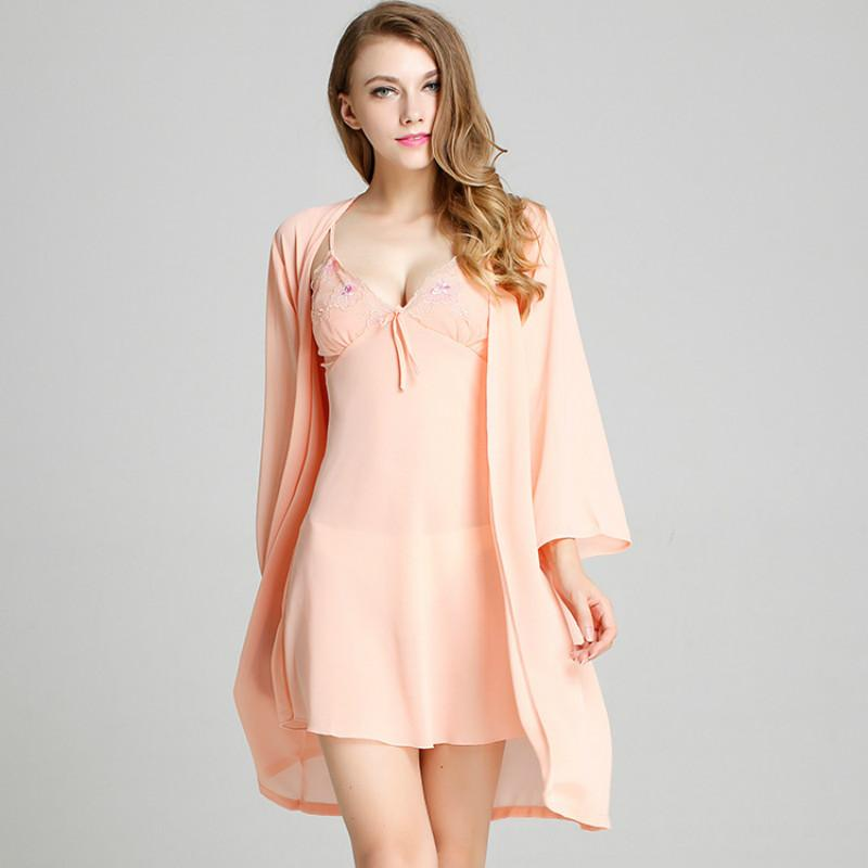 Nightdress пояс пижамы шифоновое Nightgown Sling Robe и платье Установить Sexy Semi-перспектива Lingerie Мини-платье Intimate Lingerie