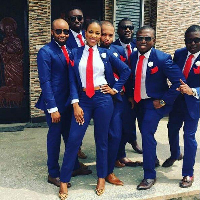 Männer Anzüge für Hochzeit Royal Blue Bräutigam Smoking Man Outfits 2Piece Abschlussball-Partei Slim Fit Terno Masculino dünne Kostüm Homme trajes de hombre