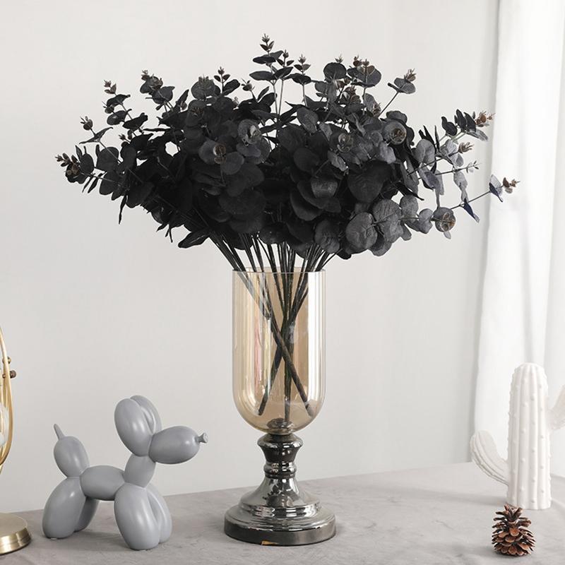 20 Jefes Artificial Negro eucalipto falso flor de la decoración del banquete de boda de la planta