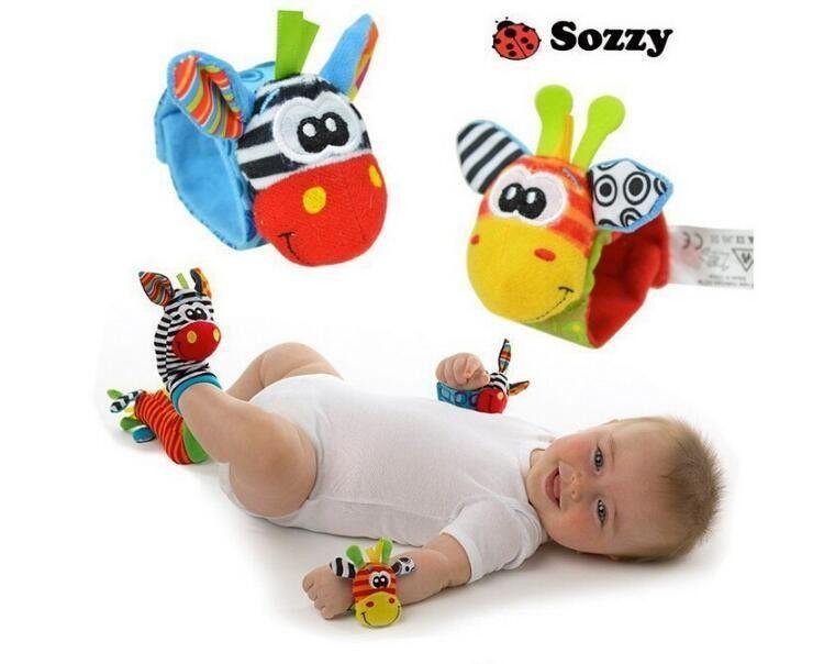 Beatiful Sozzy Baby Infant Toy Soft Handbells Hand Wrist Strap Rattles Animal Socks Foot Finders Stuffed Toys Christmas Gift
