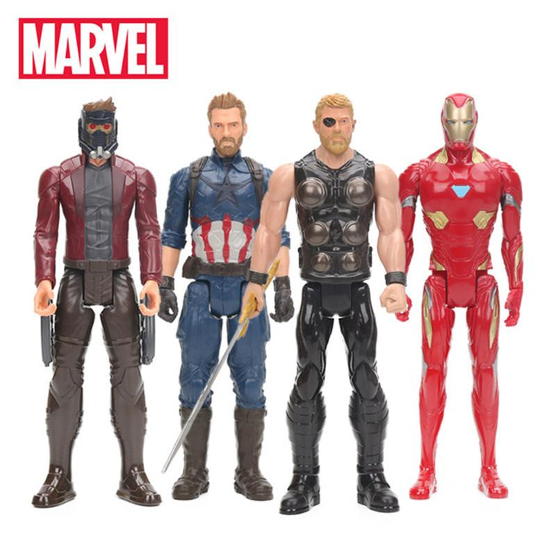 30cm Marvel Toys 4pcs/set Avengers 3 Infinity War Thor Star Lord Captain America Ironman Figure Titan Hero Series Colletible Model toys