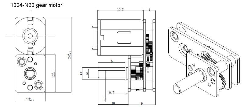size of micro gear motor