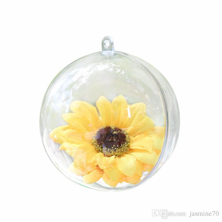 Clear Plastic Christmas Ball Ornament (4inch / 100mm) Gifts Tree Pendant Christmas Wedding Decoration Ball l Macaroon Yongsheng Flower Ball
