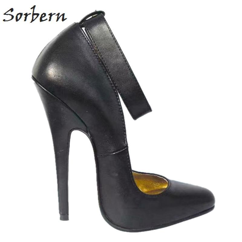 على نطاق واسع كعوب أحذية الكاحل حزام مضخة المرأة 16CM عالية الكعب الخناجر ريال جلد المرأة اللباس جودة أحذية حزب مخصص