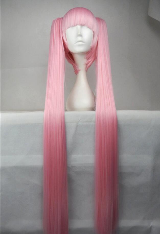 European and American fashion anime female pink 120cm1 meter Hatsune Miku ultra long hair double ponytail long straight wig gold Foreign tra