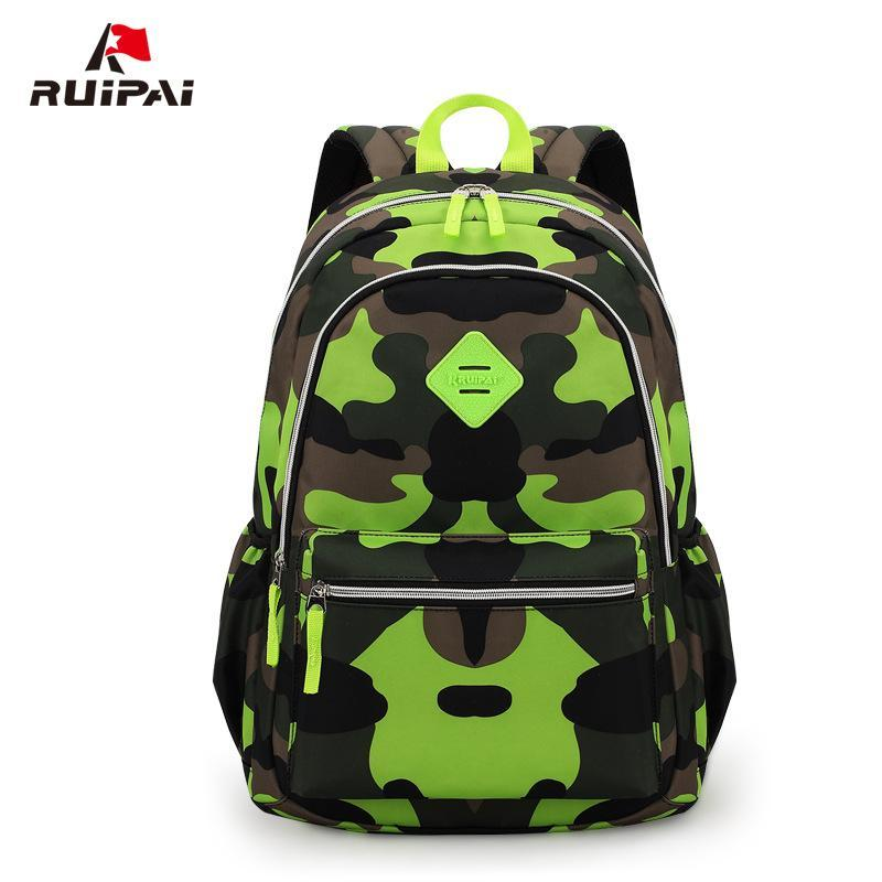 RUIPAI 보이 키즈 백팩 폴리 에스터 위장 정형 학교 배낭 책가방을 위해 학생들 소년 용 가방 배낭 군사 K6111