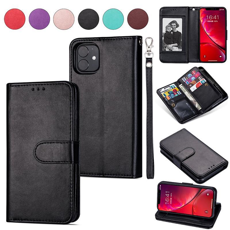 9 Tarjeta de la cartera del cuero soporte del teléfono del caso del tirón para el iphone 11 Pro XS máximo MAX XR 6 7 8 PLUS Samsung S7 S8 S9 S10 Nota 10 PLUS S10E S105G NOTE9