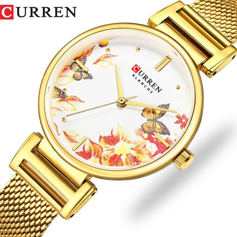 Curren Aço Inoxidável Mulheres Relógio de Moda Top Marca Quartz Ladies WristWatch Bayan Kol Saati 9053 relógio Feminino Belo presente