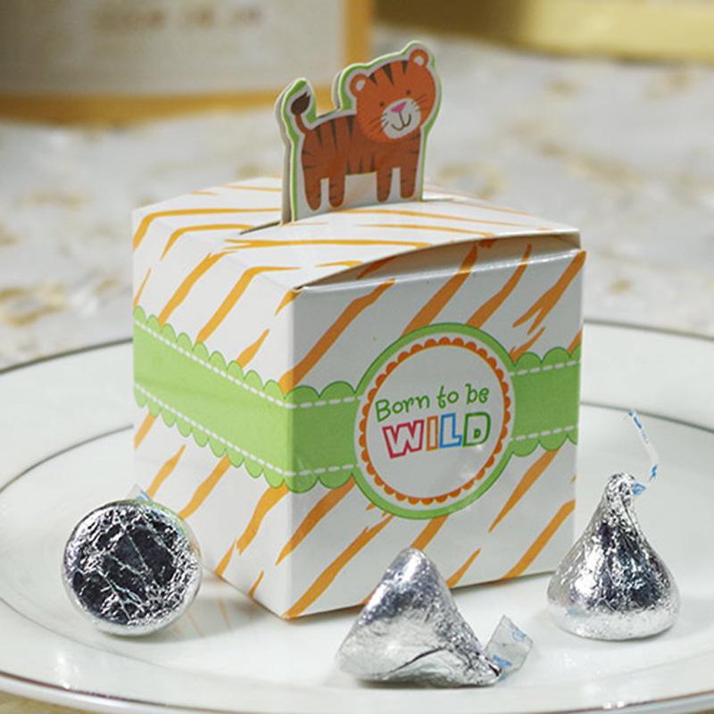 10 PCS Monkey Elelphant Tiger Giraffe Hopped Candy Box Boxes Chocolate Para Baby Shower Birthday Jungle Paper Box