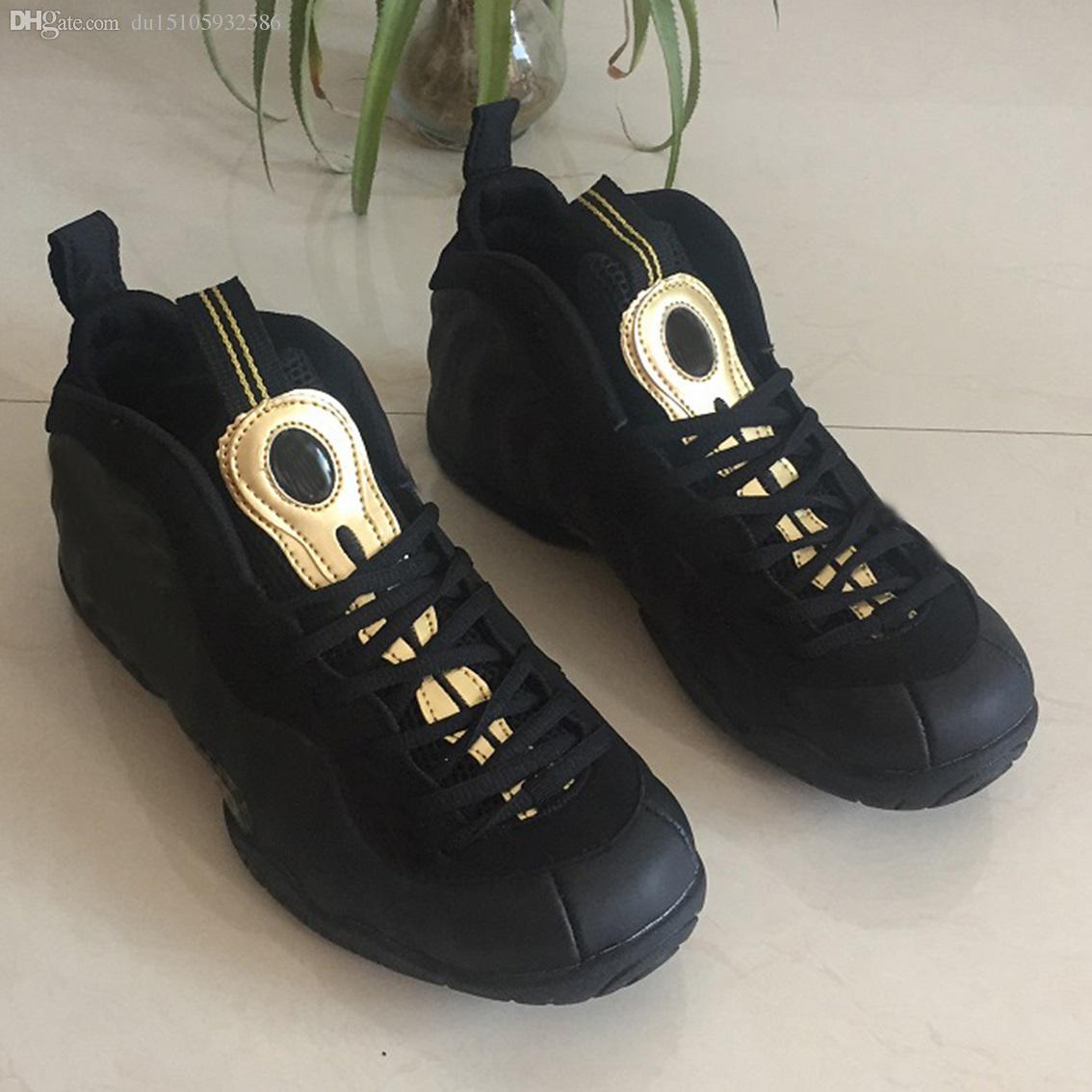 Neueste schwarze Gold Penny Hardaway Männer beiläufige Schuhe 624041-009 Metallic-Schaum ein Herren Jogging-Schuhe Größe 40-47