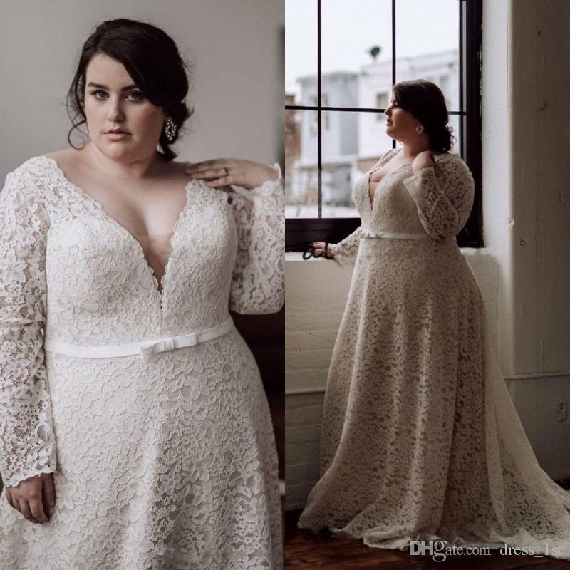 Скромные 2020 плюс размер свадебные платья с длинными рукавами V образным вырезом линия придворный поезд полный кружева свадебные платья для женщин большого размера