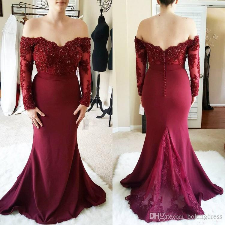 Lace Top Burgundy Bridesmaid Dresses 2020 Latest Elegant Long Sleeves Appliques Beaded Mermaid Junior Bridesmaid Gowns Cheap For Sale