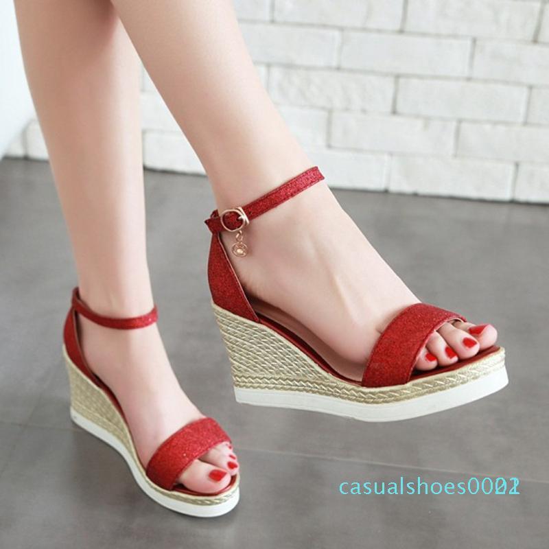 Moda ayakkabılar kadın Sequins Casual takozları Sandalet Platformu Yüksek Topuk Sandalet bayan ayakkabı sandalia Feminina zapatos de mujerl c22