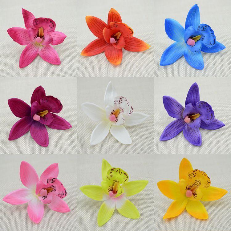 10pcs ucuz ipek çiçeği Cymbidium simülasyon yapay çiçek düğün kelebek orkide yapay çiçekler
